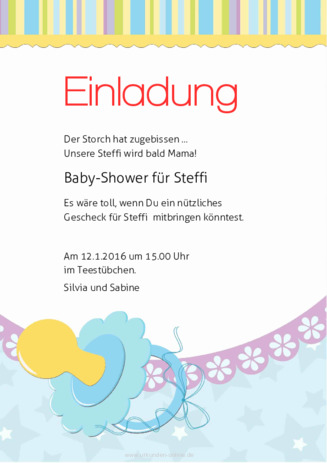 mustertexte für babyparty | urkunden-online.de, Einladung
