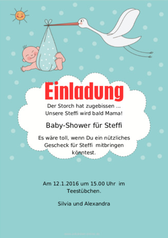 baby shower Mustertext