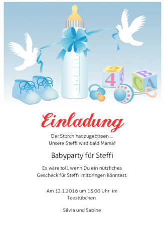 Mustertext Babyparty