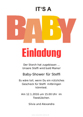 Mustertext Babyparty · Einladung Mustertext