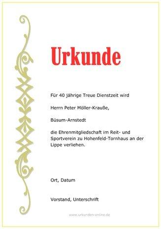Ehrenurkunde selbst gestalten und ausdrucken | urkunden-online.de